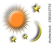sun  moon  stars on white... | Shutterstock . vector #1581013753