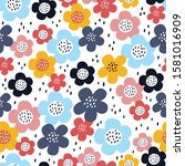 cute seamless pattern with... | Shutterstock .eps vector #1581016909