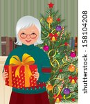 Vector illustration of an elderly woman holding a Christmas gift/ Grandmother and Christmas gift/ An elderly woman on the background of a Christmas tree with Christmas present in hands