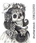 art skull day of the dead. hand ...   Shutterstock . vector #158121053