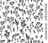 hand drawn wild flower seamless ... | Shutterstock .eps vector #1581250936