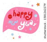 pink winter holiday speech...   Shutterstock .eps vector #1581262279