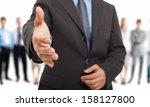 businessman offering an... | Shutterstock . vector #158127800