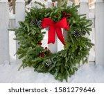 A Christmas Wreath Outdoors On...