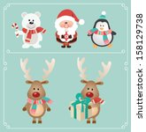 Set Of Cute Christmas Characte...