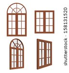 Set Of Closed Wooden Windows....