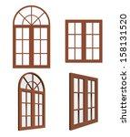 Set Of Closed Wooden Windows....