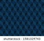 seamless classic blue geometric ... | Shutterstock .eps vector #1581329743
