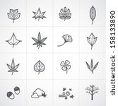 Autumn and leaf icons set - stock vector