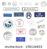 vintage airmail stamps | Shutterstock . vector #158136833