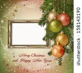 christmas greeting card with... | Shutterstock . vector #158143190