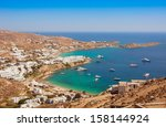psaru beach of mykonos  greece. ... | Shutterstock . vector #158144924