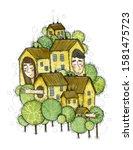 slumber town   watercolor hand... | Shutterstock . vector #1581475723