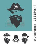pirate head symbols with skull... | Shutterstock .eps vector #158154644