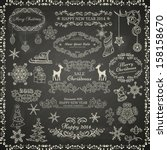 set of vintage christmas... | Shutterstock .eps vector #158158670
