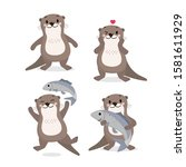 cute otter and fish vector.... | Shutterstock .eps vector #1581611929