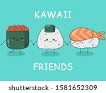 card with kawaii sushi.... | Shutterstock .eps vector #1581652309