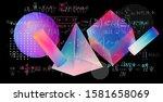 floating 3d solids in zero...   Shutterstock .eps vector #1581658069