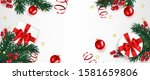 christmas background decorated... | Shutterstock .eps vector #1581659806