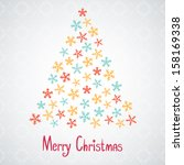 merry christmas postcard with... | Shutterstock .eps vector #158169338