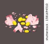 broken piggy bank. gold coin.   Shutterstock .eps vector #1581694510
