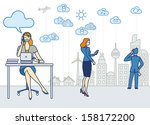 a business woman working in an... | Shutterstock .eps vector #158172200