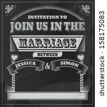 wedding chalkboard invitation.... | Shutterstock .eps vector #158175083