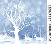 snow winter landscape with two... | Shutterstock .eps vector #158178089
