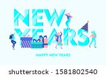 happy new year 2020 tiny people ...   Shutterstock .eps vector #1581802540