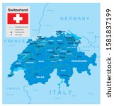 vector map of switzerland with... | Shutterstock .eps vector #1581837199