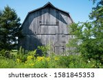 Old Gray Wooden Farm Barn With...