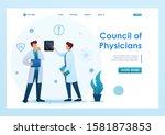 young doctors discuss the... | Shutterstock .eps vector #1581873853