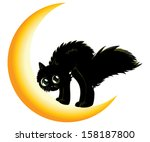 cute cartoon black kitten on... | Shutterstock . vector #158187800