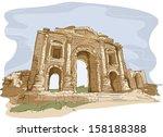 ancient jerash,arch of hadrian. city gate,art,asia,cartoon,clip art,clipart,eps,graphic,historical landmark,holy land tour,illustration,jerash gate,jordan,location
