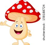 cute mushroom cartoon presenting