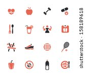 diet and fitness theme icons set | Shutterstock .eps vector #158189618