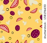 seamless pattern of pizza | Shutterstock .eps vector #158196650