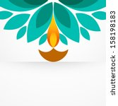 stylish colorful diwali diya... | Shutterstock .eps vector #158198183