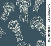 sea jelly. hand drawn vector...   Shutterstock .eps vector #1582002040