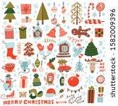 big set of christmas design... | Shutterstock . vector #1582009396