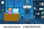 confused businessman gets two... | Shutterstock .eps vector #1582009420