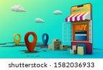 online shopping  mobile...   Shutterstock . vector #1582036933