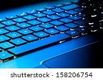 close up of laptop keyboard as...