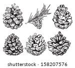 set of christmas hand drawn... | Shutterstock .eps vector #158207576