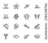 sea creatures line icon set.... | Shutterstock .eps vector #1582188766