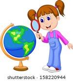 cartoon girl using magnifying...   Shutterstock .eps vector #158220944