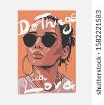 typography slogan with tan girl ... | Shutterstock .eps vector #1582221583