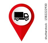 truck icon on square internet... | Shutterstock .eps vector #1582222930