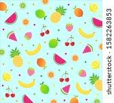 cute tropical fruits  cherry ... | Shutterstock .eps vector #1582263853