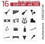 vector black music instruments...   Shutterstock .eps vector #158226734